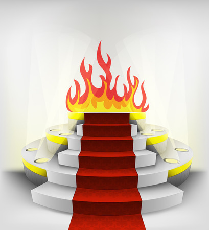 flaming exhibition on round illuminated podium vector illustration Vector