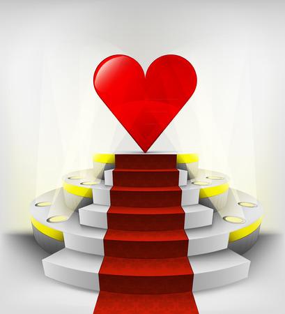 love exhibition on round illuminated podium vector illustration Vector