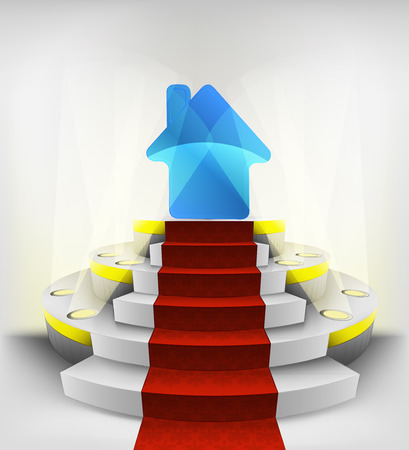 new house exhibition on round illuminated podium vector illustration Vector