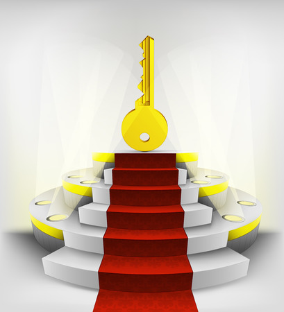 key to success exhibition on round illuminated podium vector illustration Vector