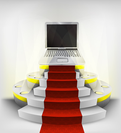 new laptop exhibition on round illuminated podium vector illustration Vector