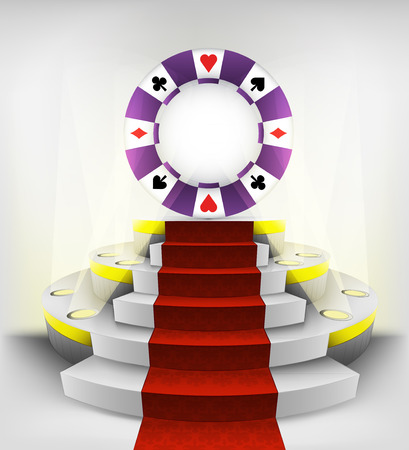poker chip exhibition on round illuminated podium vector illustration Vector