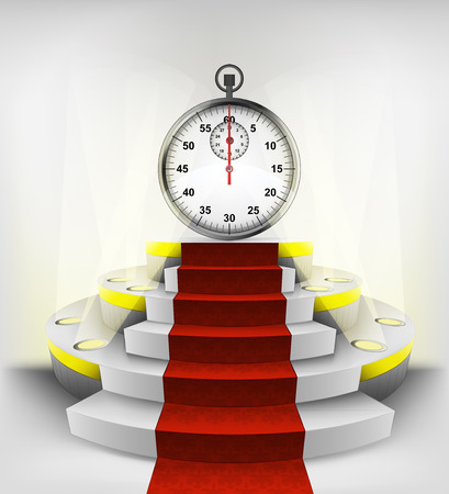 stopwatch timer exhibition on round illuminated podium vector illustration Vector