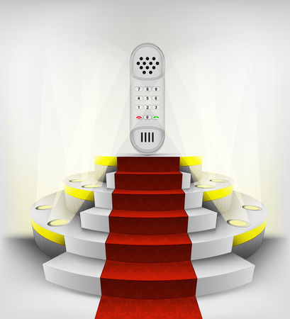 dial telephone exhibition on round illuminated podium vector illustration Vector