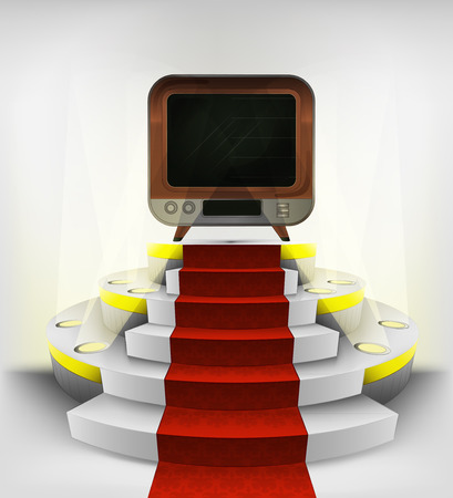 retro television exhibition on round illuminated podium vector illustration Vector