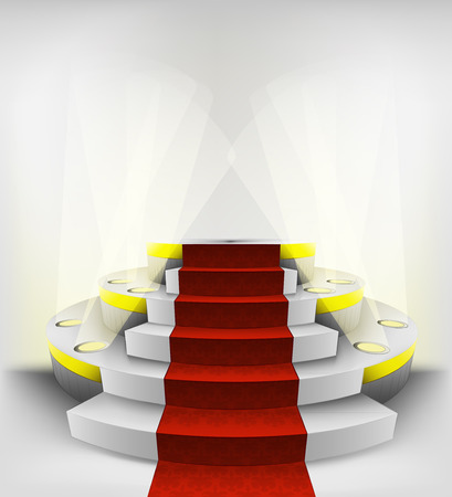 empty exhibition space on round illuminated podium vector illustration Vector
