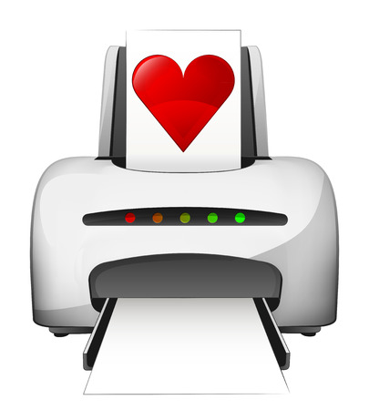 printing with love advertisement as vector concept illustration