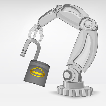 automated: opened padlock hold by automated robotic hand vector illustration