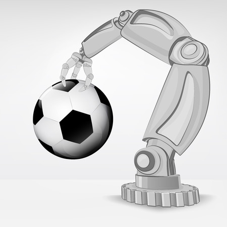 soccer ball hold by automated robotic hand vector illustration Stock Vector - 26640501