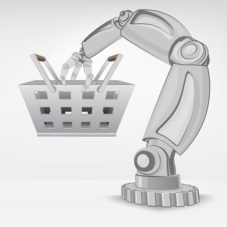 shopping basket hold by automated robotic hand vector illustration Stock Vector - 26640502