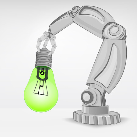 automated: ecological idea hold by automated robotic hand vector illustration