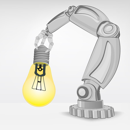 innovation idea hold by automated robotic hand vector illustration Stock Vector - 26640506
