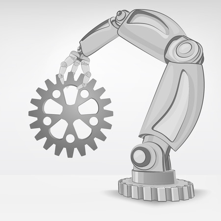 spare part: industrial spare part hold by automated robotic hand vector illustration