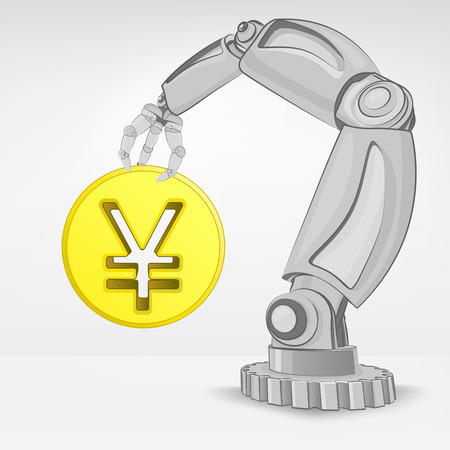golden Yuan coin hold by automated robotic hand vector illustration Stock Vector - 26640952