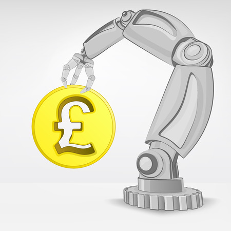 golden Pound coin hold by automated robotic hand vector illustration Stock Vector - 26640953