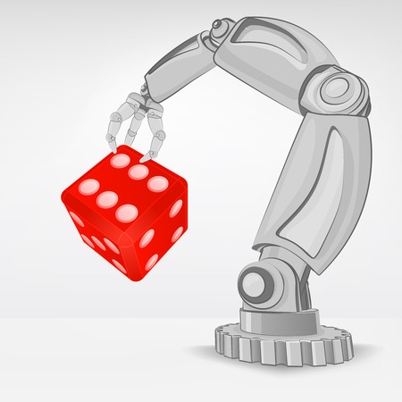 automated: lucky dice hold by automated robotic hand vector illustration