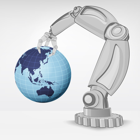 automated: Asia earth globe hold by automated robotic hand vector illustration