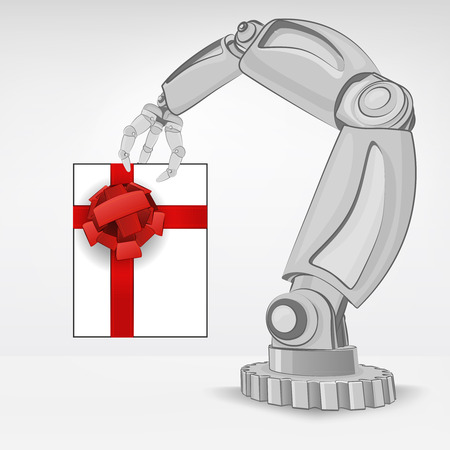 gift surprise hold by automated robotic hand vector illustration Stock Vector - 26640956