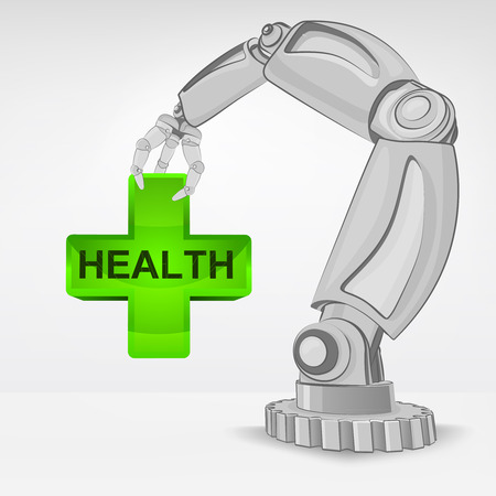 humanic health care hold by automated robotic hand vector illustration Stock Vector - 26640957
