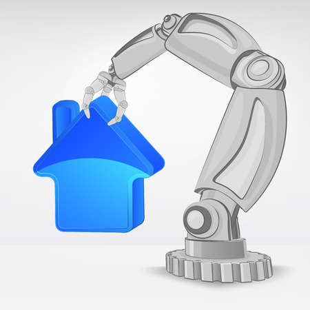 real estate icon hold by automated robotic hand vector illustration Stock Vector - 26640958