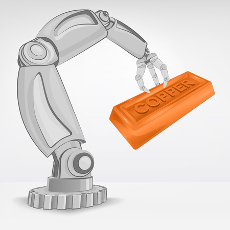 crafted copper ingot hold by automated robotic hand vector illustration Stock Vector - 26640960
