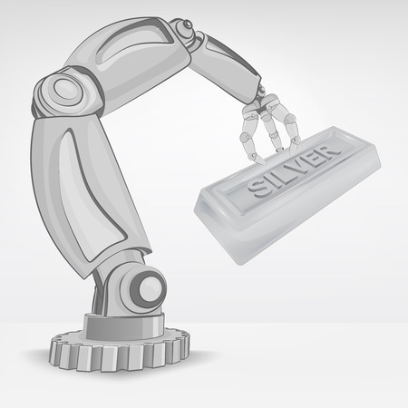 crafted: crafted silver ingot hold by automated robotic hand vector illustration