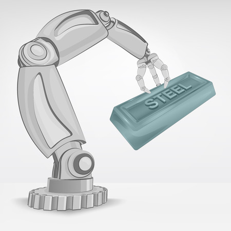 crafted: crafted steel ingot hold by automated robotic hand vector illustration