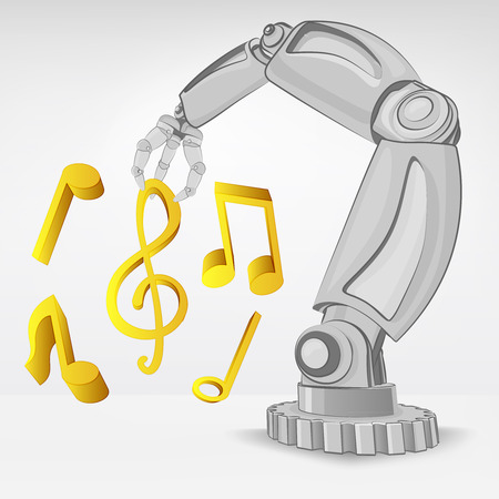 modern music creating by automated robotic hand vector illustration Stock Vector - 26640965