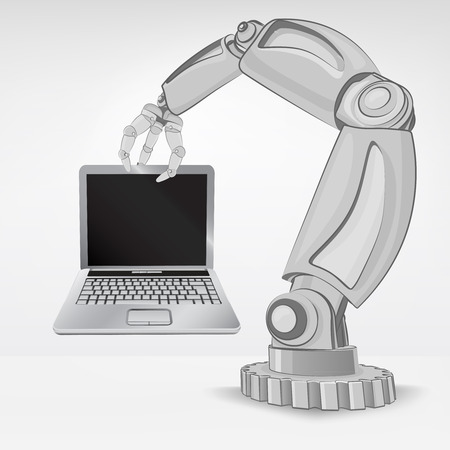 automated: new laptop hold by automated robotic hand vector illustration Illustration