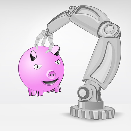automated: happy pig hold by automated robotic hand vector illustration