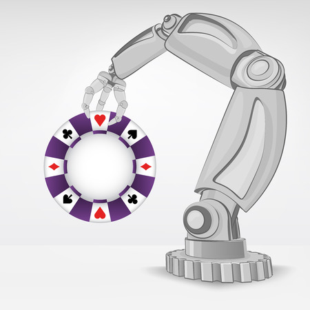 automated: poker chip hold by automated robotic hand vector illustration