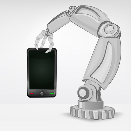 new smart phone hold by automated robotic hand vector illustration Vector