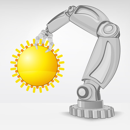 summer sun hold by automated robotic hand vector illustration Stock Vector - 26641048