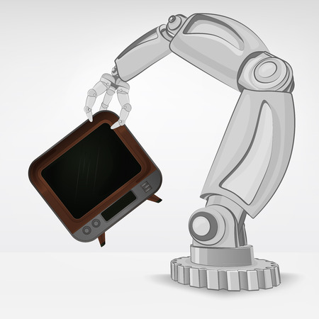 automated: television channel hold by automated robotic hand vector illustration Illustration