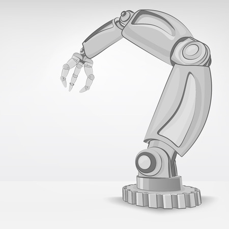 automated: cybernetic robotic hand used for automated manufacture vector illustration