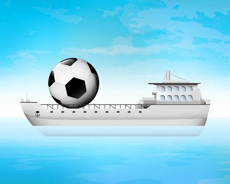 freighter: soccer ball on freighter deck transportation vector concept illustration