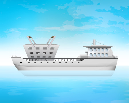 freighter: trade products on freighter deck transportation vector concept illustration Illustration