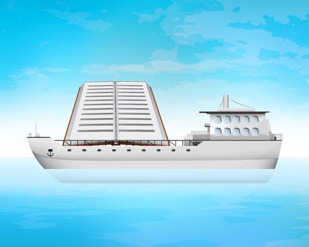 freighter: book on freighter deck transportation vector concept illustration