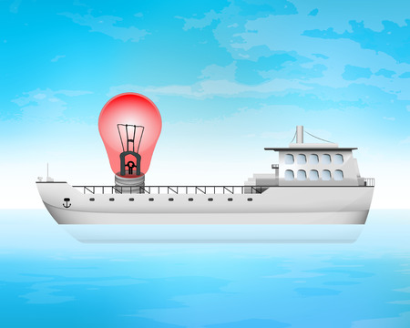 freighter: danger light on freighter deck transportation vector concept illustration Illustration
