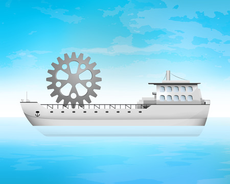 spare part: spare part on freighter deck transportation vector concept illustration Illustration
