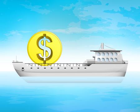 dollaro moneta d'affari carico in coperta illustrazione vettoriale di trasporto Vettoriali