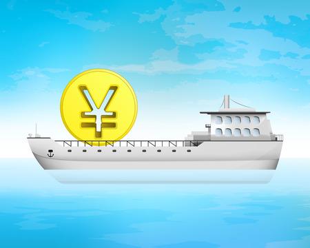 yuan: yuan coin cargo business on deck transportation vector illustration Illustration
