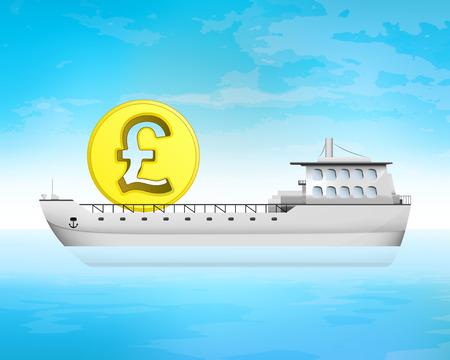 pound carico moneta affari sul ponte illustrazione vettoriale di trasporto