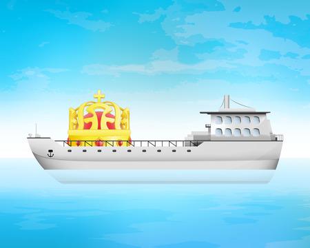 freighter: royal cargo on freighter deck transportation vector concept illustration