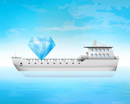 freighter: big diamond cargo on freighter deck transportation vector concept illustration