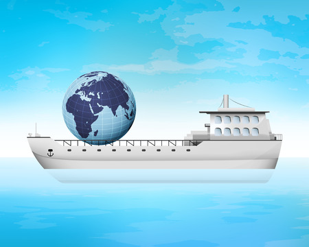 freighter: Africa trading on freighter deck transportation vector concept illustration