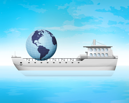 freighter: America trading on freighter deck transportation vector concept illustration