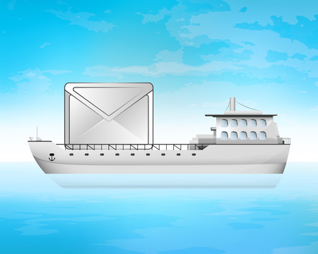 freighter: important message on freighter deck transportation vector concept illustration
