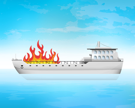 freighter: open fire on freighter deck transportation vector concept illustration