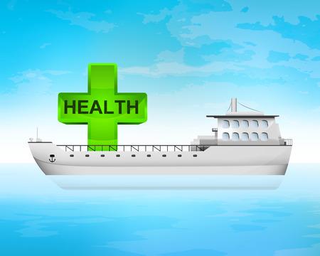 freighter: health green cross on freighter deck transportation vector concept illustration Illustration
